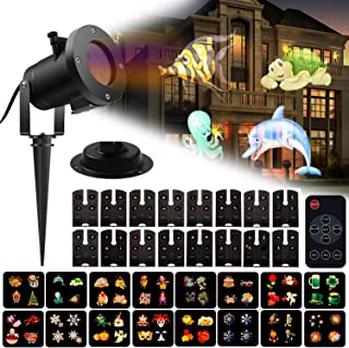 Christmas Lights Projector 16 Patterns LED Slides Remote Control Indoor or Outdoor Waterproof Garden Decorations with 15ft Power Cable