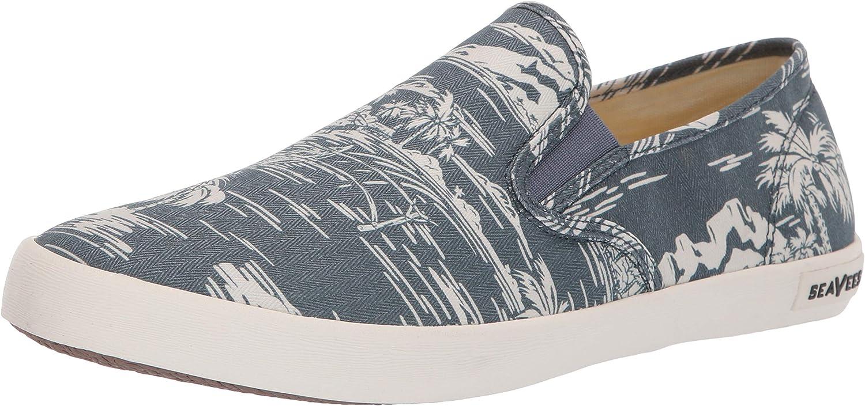 SeaVees Men's Baja Slip On Beachcomber Sneaker, Navy Ocean Palm, 10.5 M US