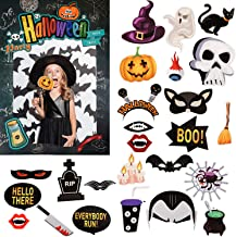 Halloween Photo Booth Props, 23 Pieces Selfie Props Funny Prop Signs with Picture Frame for Halloween Party Supplies, Assorted Designs, DIY Assembly Needed