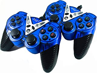 Fatimah's Couture TECHCOM - Dual Vibration USB Wired Controller Gamepad/Joystick with LED Indicators for PC Laptop & with CD Driver, Set of 2