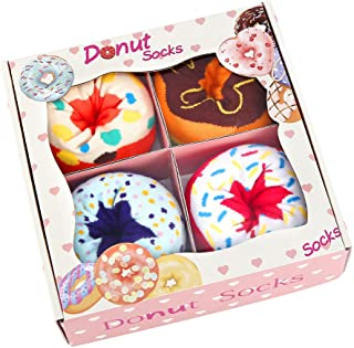 Funny Donut Box Socks for Women Ladies Teen Girls - Funny Gifts Fun Novelty Cute Crazy Funky Food Cool Cotton Crew Socks B...