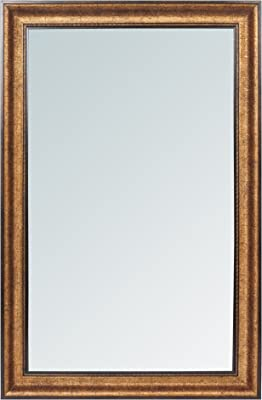 999Store Fiber Framed Large Decorative Wall Mirror Golden Brown (34x22 Inches)