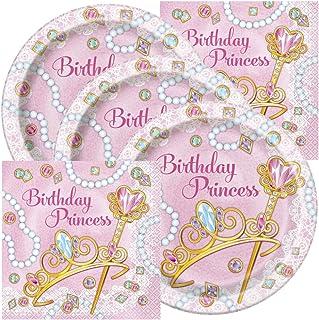 Princess Themed Birthday Party Plates and Napkins (Serves 16)