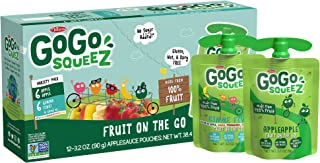 GoGo squeeZ Applesauce, Variety Pack (Apple/Gimme 5), 3.2 Ounce (12 Pouches), Gluten Free, Vegan Friendly, Unsweetened App...