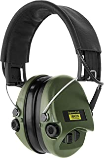 Sordin Supreme PRO X - Noise Reduction Safety Ear Muffs - Adjustable Hearing Defender - Leather Headband and Green Cups