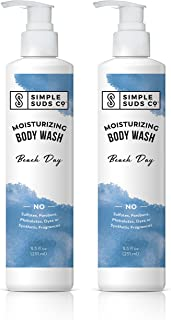 Simple Suds Co. Beach Day Natural Body Wash, Moisturizing Bath and Shower Gel, 8.5 Ounce, 2 Count