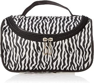 MUNISO Black zebra toiletry bag makeup bag,Portable zebra toiletry bag print bag,Waterproof zebra toiletry bag for women