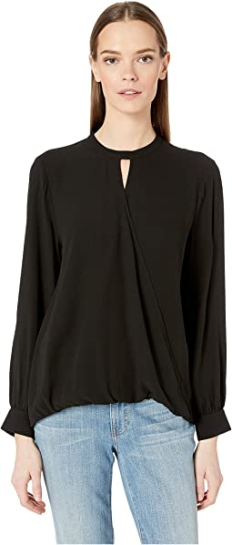 Mock Neck Long Sleeve Top w/ Overlap Front