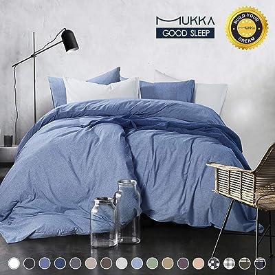 MUKKA 3-Piece Cotton Duvet Cover Set Queen,100%...