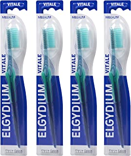 Pierre Fabre Elgydium Vital Toothbrush, Medium, Assorted Colours (Pack of 4)