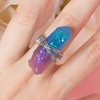 Rinie ring, anello sfumato viola e blu finto opale a forma di cristallo con base argentata regolabile portafortuna regalo ...