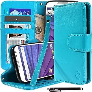 Motorola Moto G (3rd Gen) Case, Moto G3 Case, Style4U Premium PU Leather Stand Wallet Case with ID Credit Card/Cash Slots for Motorola Moto G (3rd Generation) / Moto G3 + 1 Stylus [Blue]
