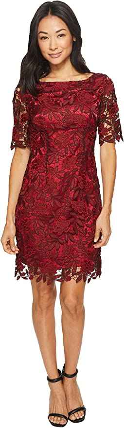 Tahari by ASL - Petite Sleeved Chemical Lace Sheath Dress