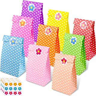 45 Pieces Gift Dot Paper Party Bags, Grocery Bags Craft Paper Bags Flat Bottom Bags with 45 Pieces Label Stickers (18 x 9 ...