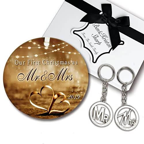Wedding Gift Set - Elegant Our First Christmas Ornament 2019 with Mr and Mrs Metal Keychains - Includes designer keepsake box and gift tag - Perfect wedding gifts for the Bride & Groom or Newlyweds