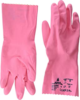 Venitex Men's 2 x Pairs Zephir 210 Natural Latex Work Safety Cleaning Gloves Size 7.5 (Small) Pink