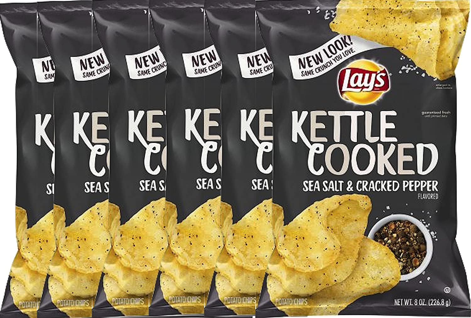 Lay's Kettle Cooked Potato Now free Our shop OFFers the best service shipping Chips Black Salt Pepper Sea Cracked