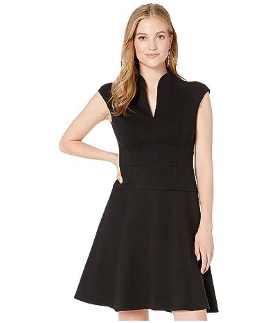 Nanette Lepore Solid Ponte Flare Dress (Black) Women