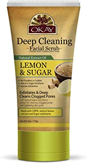 OKAY | Lemon & Sugar Facial Scrub | Gentle Exfoliant | Leaves Skin Smooth | With Natural Extract | Free of Alcohol, Sulfat...