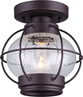 Canarm IFM636A08ORB LTD Potter 1 Light Flush Mount Oil Rubbed Bronze with Seeded Glass