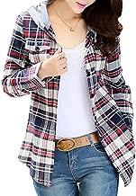 AsherFashion Women Classic Long Sleeves Cotton Hoodie Button-up Plaid Shirts