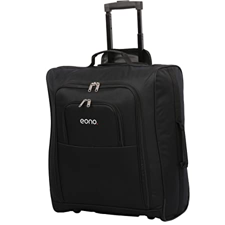 Amazon Brand – Eono British Airways, Jet2 & easyJet Plus Flexi Maximum Approved Trolley Bag Hand Cabin Luggage 56x45x25, 60L, Black