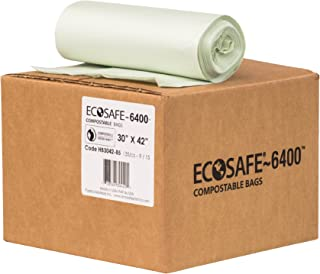 EcoSafe-6400 HB3042-85 Certified Compostable Bag, 35-Gallon, Green (Pack of 135)