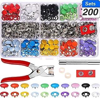 Chantwon Juego de 200 Botones de presión Huecos, Juego de Traje, alicates, Hebilla, Anillo de Metal, para Ropa Infantil de bebé, 9,5 mm, 10 Colores