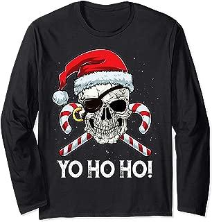 Santa Pirate T Shirt Christmas Jolly Roger Flag Skull Gifts