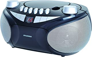 Sylvania SRCD286 Portable Cassette, CD, AM/FM Radio Boombox, Silver/Black (Ceritified Refurbished)