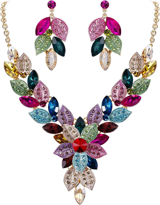 EVER FAITH Women's Crystal Elegant Bridal Cluster Flower Leaf Drop Necklace Earrings Set