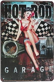 SUMIK Hot Rod Garage Girl, Metal Tin Sign, Vintage Art Poster Plaque Garage Home Wall Decor