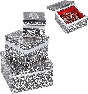 Handcrafted Rosetone Aluminium Jewelry Box with Black Faux Velvet Interior.