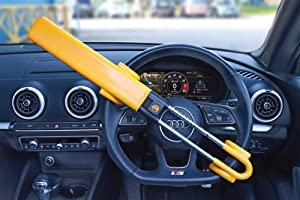 Streetwize SWTBL Twin Bar Steering Wheel Lock Yellow  Heavy Duty Double Hook Wheel Lock with Curved Key Locking Mechanism  Claw Clamp  Anti-Theft Locking Devices
