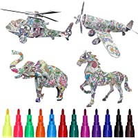 Deals on 4-Pack IShowofficial 3D Coloring Puzzle Set w/12 Pen Markers