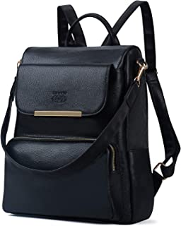 COOFIT Leather Backpack Women Black Backpack PU Leather Schoolbag Casual Daypack for Women