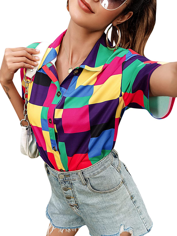 Milumia Women's Casual Short Sleeve Shirt Button Down Patchwork Collar Blouse Tops