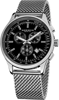 Akribos XXIV Men's Chronograph Watch - 4 Subdials Multifunction Complications with Tachymeter on Heavy Stainless Steel Bracelet Watch - AK1072