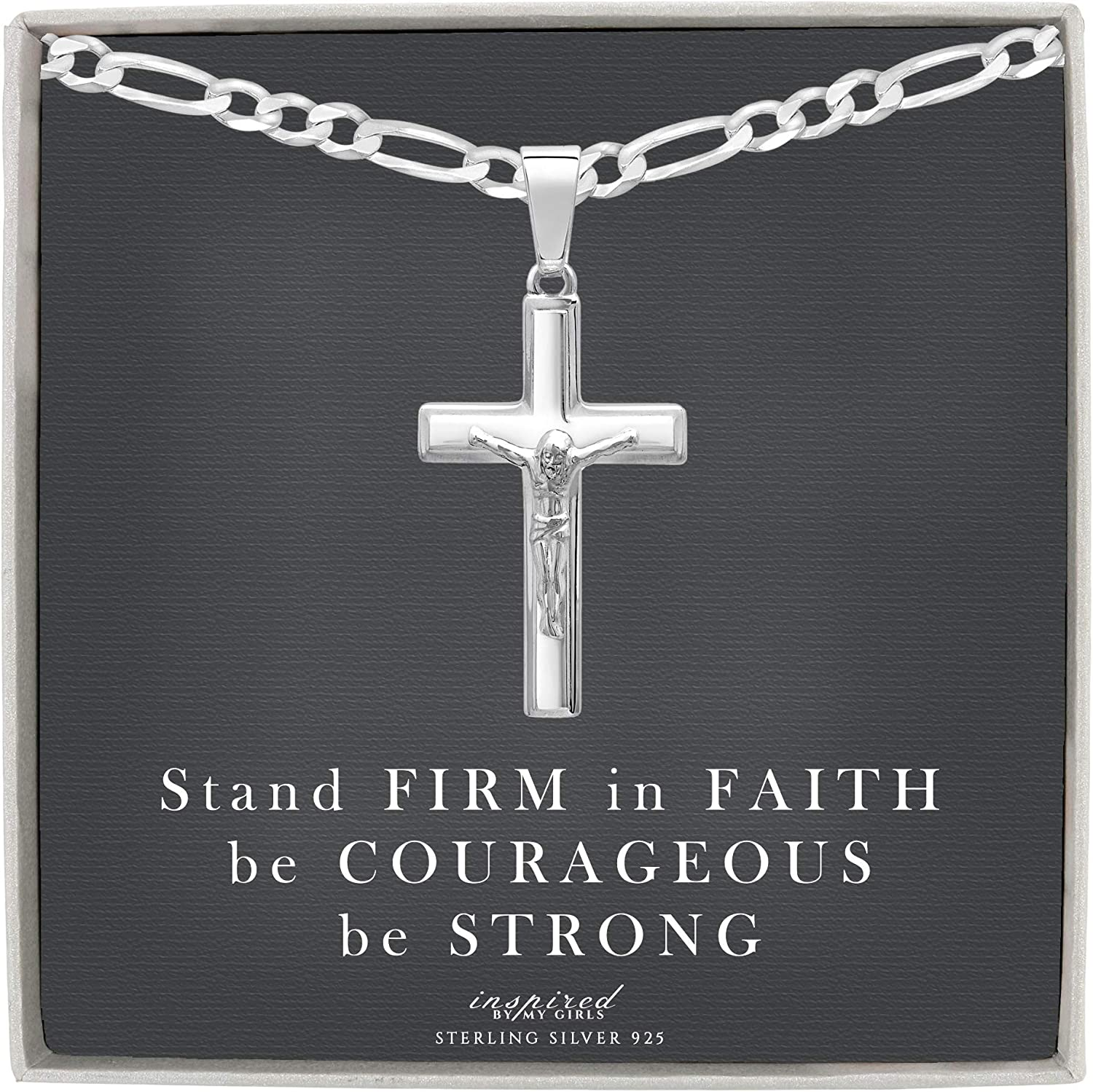 Mens Sterling Silver 5 ☆ very popular Crucifix New popularity Necklace Ins Figaro with and Chain