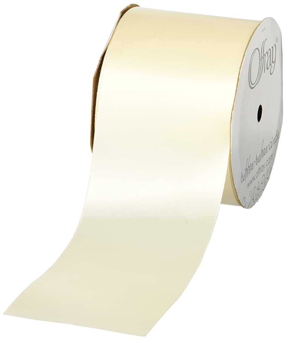 Offray Single Face Satin, 3-Inch Wide by 10-Yard Spool, Ivory