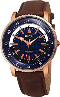 Printed Globe Dial with 24 Hour Markers - Genuine Leather Men's Watch – Soft and Rugged Nubuck Leather Strap - Arrow and Dauphine Style Hands with Luminous Fill - AS8213