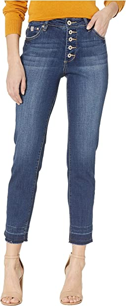 Gwen Button Fly Slim Ankle Jeans in Casper Wash