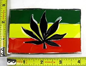 Reggae Rasta Rastafarian Flag African Marijuana Weed Leaf Pot Leafy Belt Buckle.