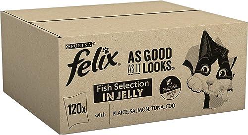 Felix - Nourriture pour chat, Cod, Tuna, Salmon, Plaice (100G X 120)