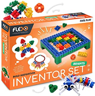 Flexo - Toy Building Brick Set with Flexible 3D Blocks - Free Play Educational STEM Learning for Girls & Boys - Kids Age 6+ - Award Winning Design - Inventor Set Bright Colours - 815 Piece Build Kit