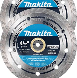 "Makita 2 Pack - 4.5"" Turbo Diamond Blades For Grinders & Circular Saws - Ultra-Fast Cutting For Concrete, Masonry & Brick - 5/8"", 20mm & 7/8"" Arbors"