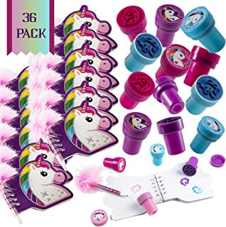 Favonir™ Unicorn Stationary Party Souvenirs Favors 36 Gift Pack – 12 Mini Notebooks – 12 Feather Pens – 12 Stampers – Kids Birthday Party Supplies Bulk Set - Ideal As Party Favor, Reward Prizes, carnival And Events