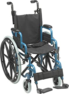 Inspired by Drive Wallaby Pediatric Folding Wheelchair, Jet Fighter Blue, 14 inch