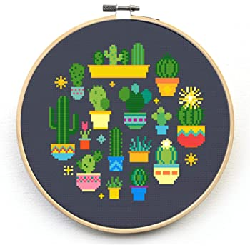 Joyautum Succulents Cactus Flowers Counted Cross Stitch kit 14ct 11ct Printed Fabric Embroidery DIY Needlework Fishxx 14ct Blank Fabric