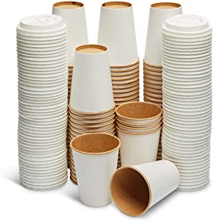 GeeOnyx Biodegradable 12 Oz Coffee Cups - 100 Pack - Resealable Lid - Reusable - White on Brown - Food Safe - Double Insulated Wall - Heavy Paper Cup - Home/Office/Travel - Eco-Friendly
